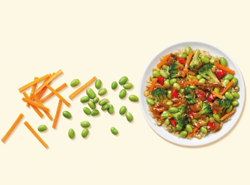 a plate of vegetables, carrots, edamame, and broccoli