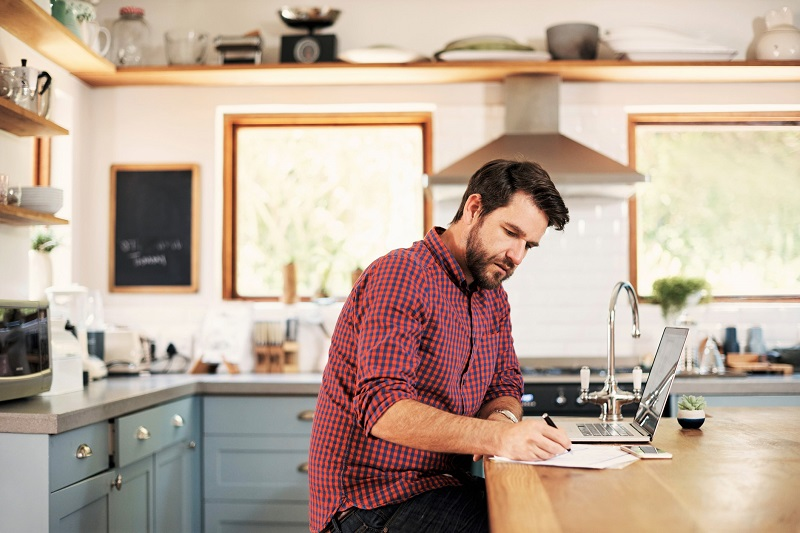 a man working in the kitchen