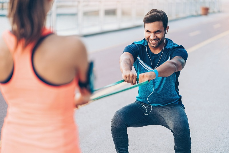 two people training together
