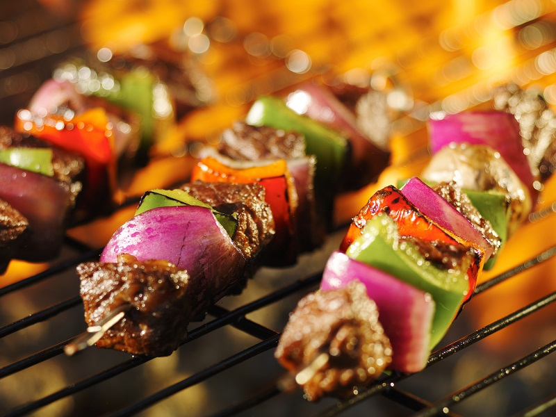 Marinated Steak Kebabs on the grill