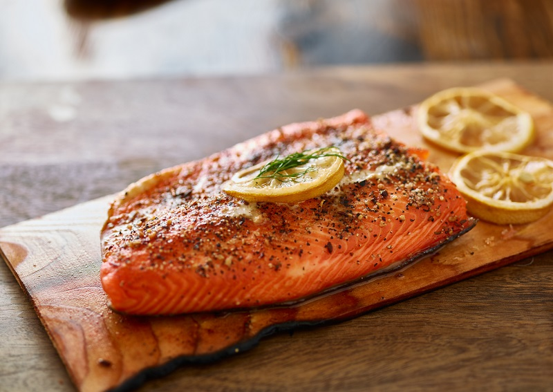 Cedar Plank Salmon cooked on the grill
