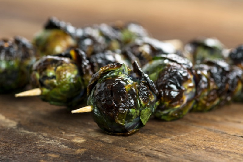 Brussels Sprout Skewer with Mustard Marinade cooked on the grill