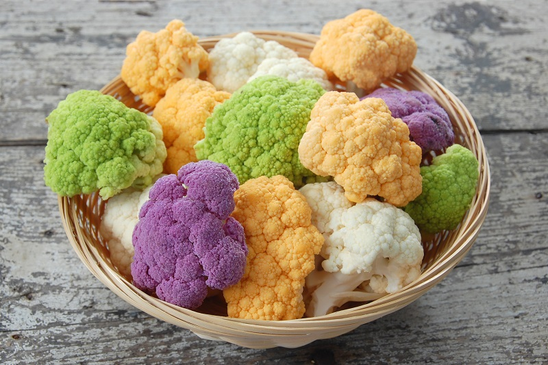 colorful cauliflower in a bowl