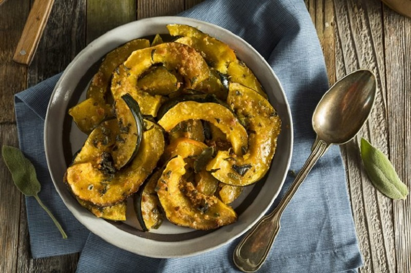 maple roasted acorn squash with brussels sprouts and bacon recipes