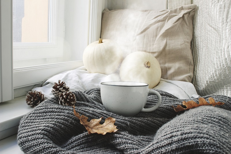 A warm mug of something delicious sits atop a blanket and pillows