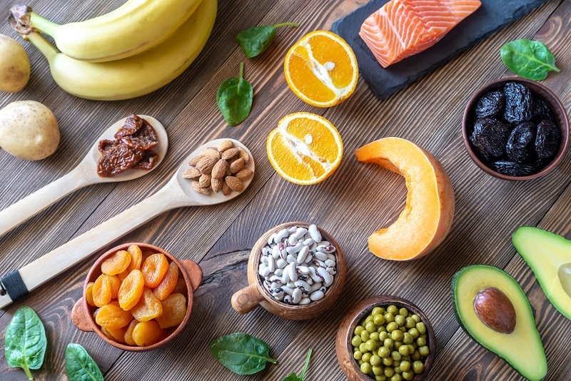 Fresh foods like the bananas and salmon pictured here can be significant sources of electrolytes